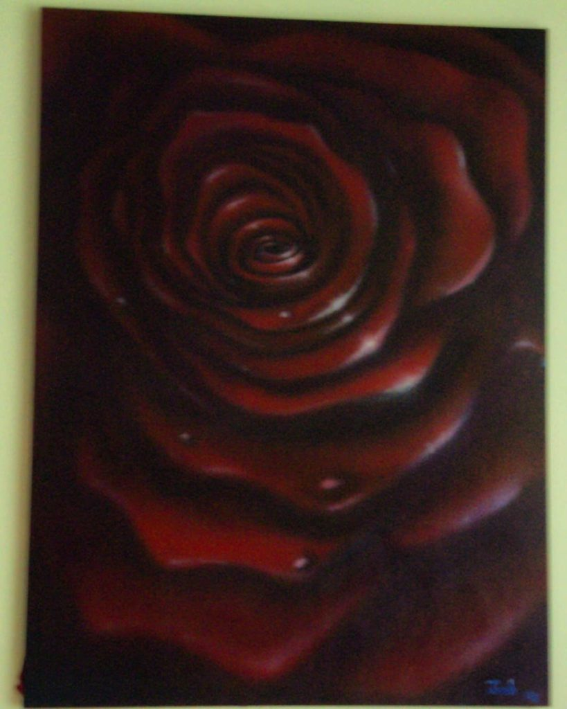 Rosy Whirlpool of Love. Acrylic on canvas. 5ft x 6ft 2006. .. SOLD. In a private collection. .. .. #art #arte #artlovers #artsy #artstagram #artistsoninstagram #love #romance #passion #desire #life #rose #redrose #canvas #interiordesign #homedecor #style #designer #fashion #traditional #flowers #acrylic #classic #airbrush #airbrushartist #createxcolors