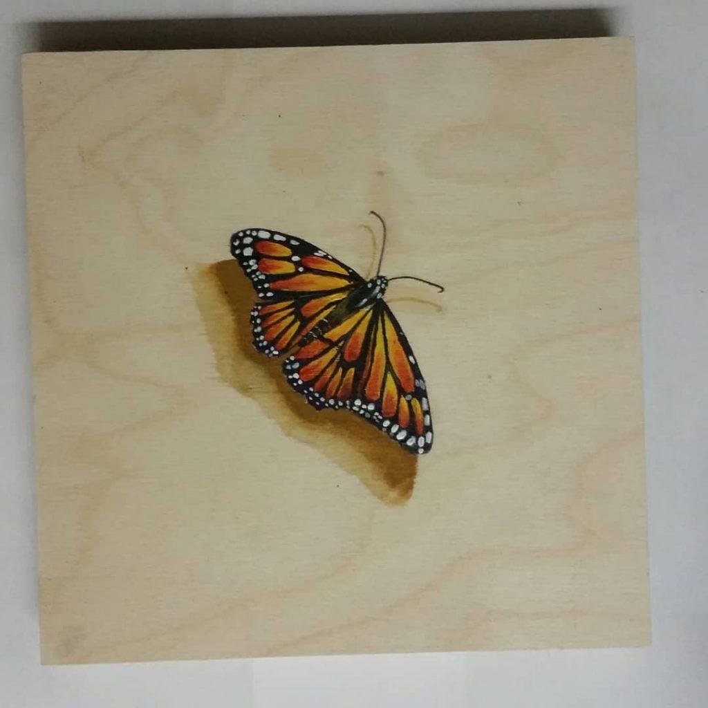 Aerobeauty. Acrylic on wood. 12 × 12 inches. 1 inch profile. Unframed. 2018.