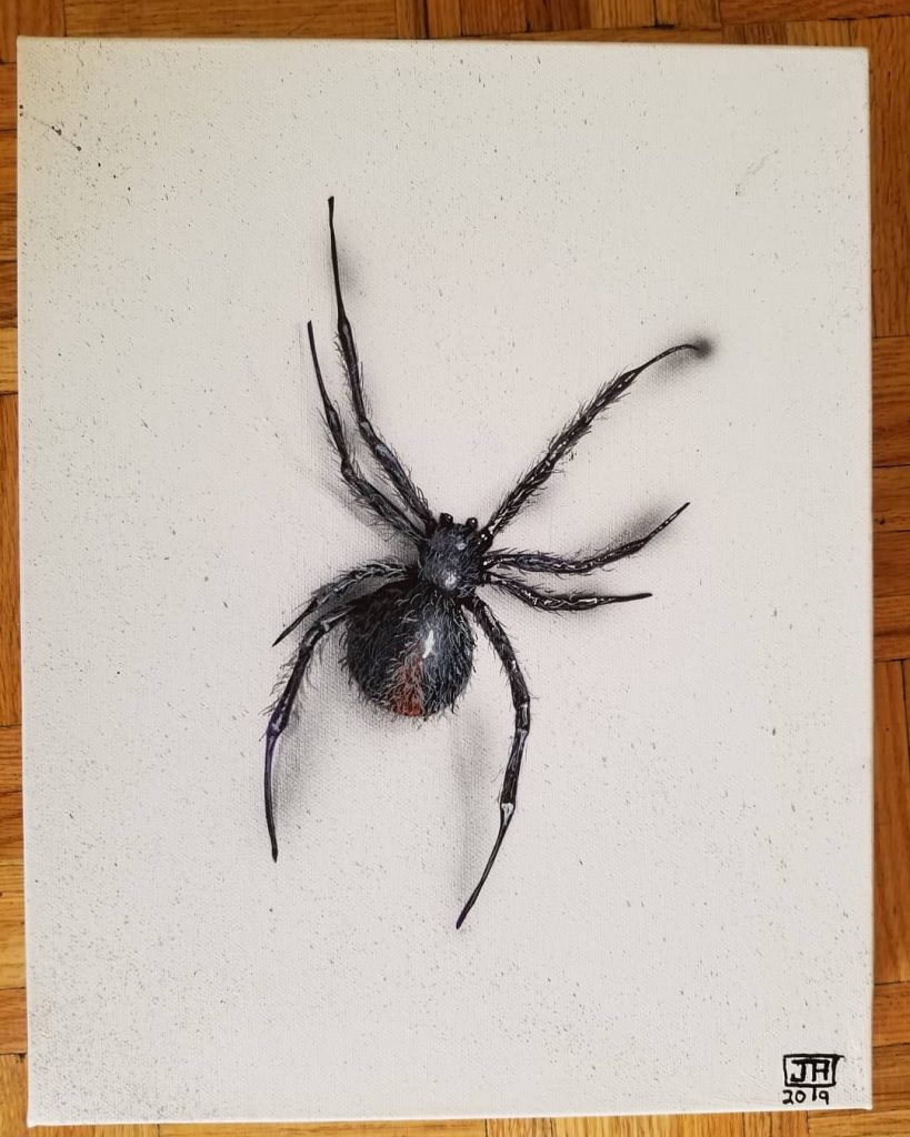 Name: Spider spider. Medium: Acrylic on canvas.  Tools: airbrush & brushes. Dimensions: 11x15 inches. Profile: 1.5 inches. Year: 2019 Artist: Joshua Andrews.