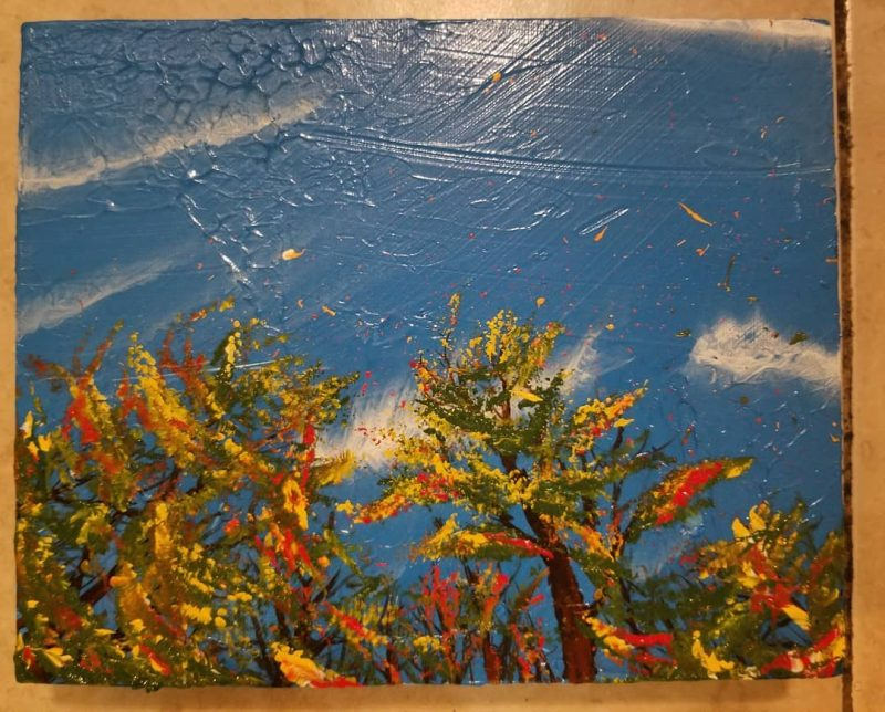 Falling Acrylic on wood. Tools: brushes Unframed dimensions: 8 x 10 2019